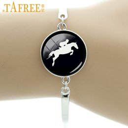 Silhouette Charm Australia - TAFREE Horse Racing silhouette bracelet vintage horseback riding jewelry gifts for equestrians Derby Day black hole T783
