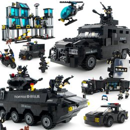 construction blocks Australia - City Police Swat Station Helicopter Armored Car Assembled Compatible Building Blocks Construction Brick Kids Toys Set Boy GiftMX190820