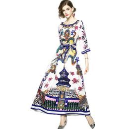 $enCountryForm.capitalKeyWord UK - Runway Designer Chinese Style Vintage Printing Dragon Maxi Dress 2019 Fall Women Elegant Belt O Neck Loose Long Dress Plus Size