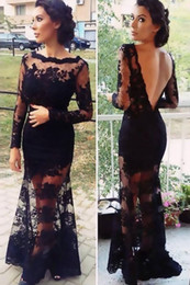 elegant pink jacket for women Australia - Mermaid Black Lace Evening Dress With Long Sleeves Sexy Full Lace Backless Formal Elegant Evening Dress Evening Gown For Women wear