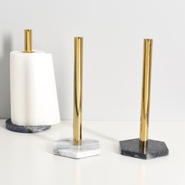plate napkins NZ - Countertop Creative Roll Holder Kitchen Napkin Holder Nordic Marble Gold-plated Paper Holder Toilet Paper Organizer Storage Rack T200107