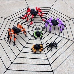 black plush spiders Australia - Spider web Halloween Plush Toys Black White Cobweb Haunted House Bar Party Festive Prop Stage Indoor Outdoor Festive Supplies Gift AN2289