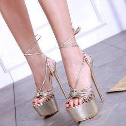 Gold dress shoes straps online shopping - 16cm Elegant gold ankle wrap platform high heels luxury women designer shoes size to