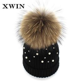 fe711ee4cb5e8 XWIN Women Beanies Raccoon Fur Pom Poms Wool Hat Beanie Pearl Knitted  Skullies Fashion Caps Ladies Knit Cap Winter Hats