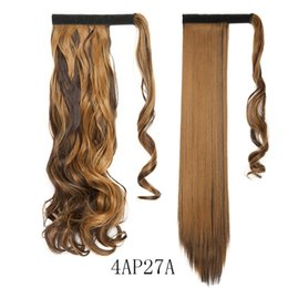 """Опт Горячая 18"""" Длинные Волнистые клип в хвост волос Ложные Ponytail Hairpiece С Шпильки Synthetic хвостик выдвижения волос"""