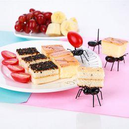 $enCountryForm.capitalKeyWord Australia - Black Ant Toothpick Plastic Children Fruit Fork Animal Theme Party Children Cake Fork 10 Lots ePacket