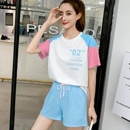Wholesale 2019 New Women Short Sleeve T shirt Shorts Two piece Set Female Summer Small Fresh Korean Sports Cute Ins Matching Suit Outfits