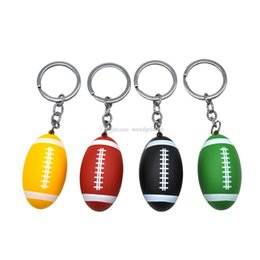 $enCountryForm.capitalKeyWord Australia - colorful Creative Keychain Rugby shape tobacco pipe Mini aluminum Alloy Portable metal Pipes for smoking dry herb