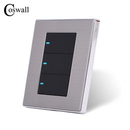 led touch button switch Australia - Power Conmutador 3 Gang 2 Way Luxury LED Light Switch Push Button Wall Switch Brushed Panel 10A AC 110~250V COSWALL