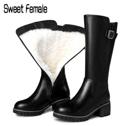$enCountryForm.capitalKeyWord Australia - Sweet Female Real Wool Snow Boots Women Knights Boots Russian Winter Warm Shoes Large Size Genuine Leather Motorcycle C057