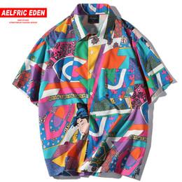 Polyester Short Sleeve Shirts Men Australia - Aelfric Eden Short Sleeve Men Hip Hop Japanese Streetwear Silk Ukiyoe Casual Shirt Man Summer Fashion Hawaiian Shirts He01 Q190518