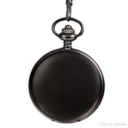 Antique Round Clock UK - Men Pocket Watches Black Smooth Dial Stylish Quartz Fob Clock with Chain Women Dress Pendant Valentine Gift