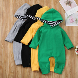 warm bodysuit NZ - Cotton Baby Kids Boys Girls Infant Solid Long Sleeve Hooded Romper Winter Warm Jumpsuit Bodysuit Casual Outfit Set 0-24M