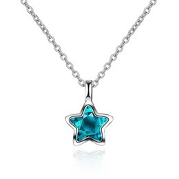 $enCountryForm.capitalKeyWord NZ - Tiny Small Star Bule Artificial Crystal Pendant Necklace Silver Link Chain Choker Necklaces Fashion Jewelry Gift for Women Girls