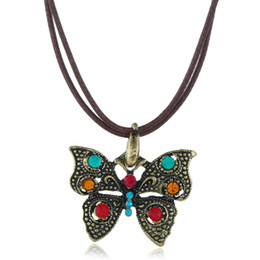 Wholesale Boho Necklace Women Bohemian Vintage Ethnic Leather Rope Rhinestone Butterfly Pendant Necklace Collier Femme