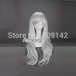 kanekalon lace wigs NZ - Stylish White 70CM Long Wavy Anime Women Girl Cosplay Hair Full Wig Gift queen Kanekalon hair lace front wigs Free deliver