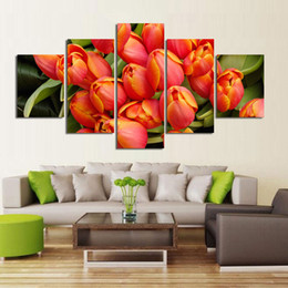 $enCountryForm.capitalKeyWord Australia - 5Pcs Set Flower Canvas Paintings Red Rose Modern Art Wall Pictures For Living room Unframed HD Printed