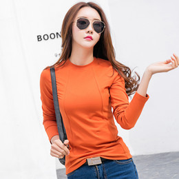 Long Sleeve Tees For Women Australia - New 2018 Spring T Shirt Women Tops Tees Long Sleeve Female T-shirt Solid Color Cotton T-shirts For Women Autumn Bottoming Shirts J190410
