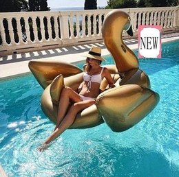 Black Swimming Toys Australia - PVC Giant Inflatable Golden White Black Swan Rider Inflatable Ride On Water Toy Swimming Pool Water Floats Birthday Part Gift