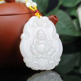 Natural Jade Pendant Buddha Australia - Fine Jewelry Hand Carved Pure Natural Afghanistan White Jade Seat Money Happy Laugh Maitreya Buddha Necklace Pendant