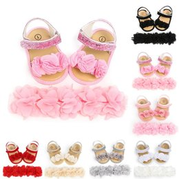 white shoes for flower girls 2020 - Baby Shoes For Girls Toddler Newborn Infant Baby Girls Boys Classic Hairband +Flower Sequins Fashion First Walkers Shoes