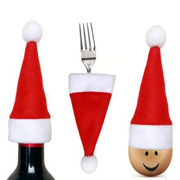 $enCountryForm.capitalKeyWord NZ - The Wine Bottle Decoration Mini- Christmas Hat Tableware Knife And Fork Set Non-woven Fabrics Red The Wine Bottle Hat
