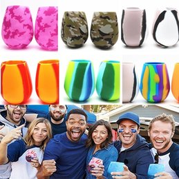beer mugs gift 2019 - Newest Drinkware 21 Colors 12oz Camouflage Silicone Red Wine Glass Cups Beer Glass Collapsible Silicone Beer Cup Drinkwa
