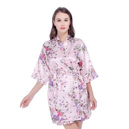 $enCountryForm.capitalKeyWord UK - Satin Bridesmaid Wedding Bride Silk Robe Floral Bathrobe Short Kimono Robes Night Robe Bath Robe Fashion Wome Dressing Gown