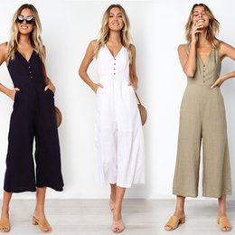 women s cotton jumpsuits Australia - Sexy Sleeveless Deep V Neck Button Cotton Jumpsuits 2019 Summer Women New Solid Casual Slim Pocket Wide Leg Ankle Length Romper