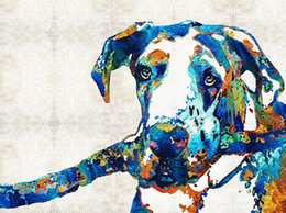 Art Canvas Prints Australia - YJ ART colorful dog 03 Modern Canvas Wall Art for Home and Office Decoration Oil Painting Print Animal on Canvas 60x80cm