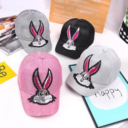 Sun capS for girlS online shopping - Summer children sequins rabbit sun hats baseball caps baby outside cute ball cap for different colors