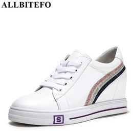 ALLBITEFO genuine leather flat heel shoes striped spring women flats  sneakers shoes bling round toe fashion casual flat 5eb56c23308