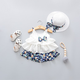 Floral Baby Suit Australia - 2018 Summer Newborn Baby Girl Clothes Strap Bow Vest + Floral Shorts + Fashion Hat 3pcs Set Baby Clothing Suit For Girls Clothes J190427