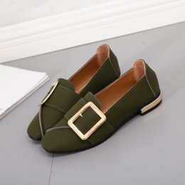 Woman Shoes Low Heels NZ - Women Shallow Square Buckle Slip On Low Heel Shoes Square Toe Single Shoes