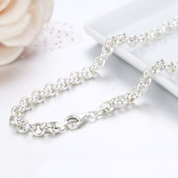 "pure silver crosses NZ - 20""-32"" Real Pure 925 Sterling Silver Circle Rolo Chains Necklace For Women Girls Men Jewelry Ketting Kolye Colier 50-80cm 5mm V191203"