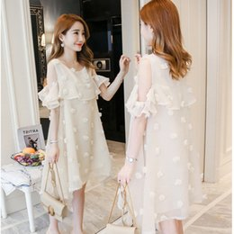 d9507e6f465 Summer New Fashion Korean Version Maternity Dress Bare Shoulder Loose Long  Section Pregnant Women Dress Tide Casual Clothing Y190522