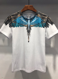 Silver t ShirtS online shopping - 19SS The New Style Bird Feather Print Series Designer T Shirts MARCELO BURLON Fashion T Shirt