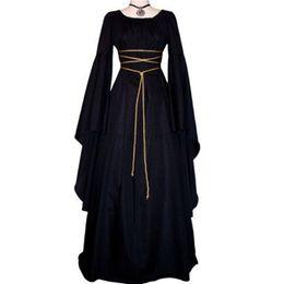 $enCountryForm.capitalKeyWord UK - Adult Women Renaissance Medieval Costume High Quality Round-Neck Dress Lace Up Vintage Floor Length Long Dress Halloween Cosplay