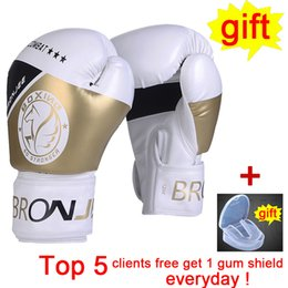 Ufc gloves online shopping - American UFC training gold boxing gloves fighting Championship printed boxing gear handmade synthetic leather fight glove combat boks gear