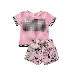 floral print shirts baby UK - 2020 Fashion Infant Baby Girls Clothes Sets Net Short Sleeve T Shirts+Black Vest+Floral Print Bow Shorts 3pcs