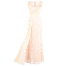see dress red carpet UK - Angel-fashions Women's V Neck Pleated Lace Party Gown Wrap Long Column See Through Evening Dress Apricot 428