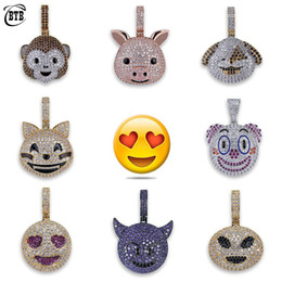 $enCountryForm.capitalKeyWord Australia - Personalized Emoji Pendant Necklace Gold Plated Men Halloween Skull Cartoon Necklace Bling Cubic Zirconia Ice Out Hip Hop Jewelry