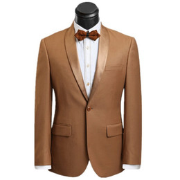 burgundy tuxedo sale UK - Hot Sale Groomsmen Shawl Lapel Groom Tuxedos Brown Men Suits Wedding Prom Dinner Best Man Blazer ( Jacket+Pants+Tie ) O766