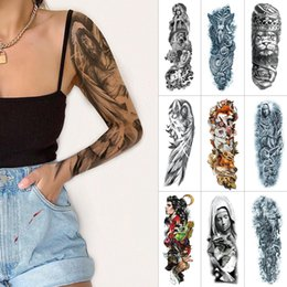 large men tattoo stickers UK - Black full arm temporary tattoo sticker lion nun flower large tattoo for Men and women arms thigh Waterproof fake