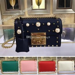 box handbags NZ - Classic Women's Flap Bag 432182 Padlock Shoulder Bags Pearl Studs Rivet Genuine Leather 20cm Chain crossbody Bag Handbag with Box Dust bag