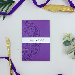 PurPle wedding invitations design online shopping - Special Purple Tri fold Laser Wedding Invitations With RSVP Card Belly Band Laser Invites For Weddings Event Free Design
