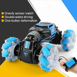 transformer cars toys NZ - 4WD Stunt Watch Control Gesture Induction Deformable Electric RC Drift Transformer Car Toys for Kids with LED Light Y200414