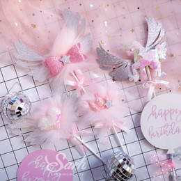 gold crown decorations 2019 - Gold Silver Pink Unicorn Crown Star Wing Balloon Yarn Cake Topper Dessert Decoration for Birthday Party Lovely Gifts che