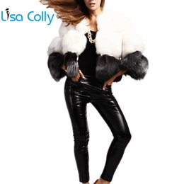 White Short Sleeve Faux Fur Australia - Lisa Colly Women Casual furry faux fur coat jacket New Short Fake fur coat overcoat women's winter thick long sleeves