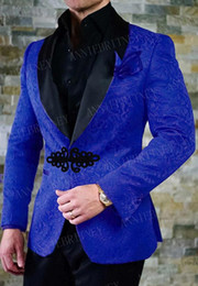 New prom tuxedos online shopping - ANNIEBRITNEY New Royal Blue Men Suit Slim Fit Tuxedo Groom Suit Set Wedding Prom Blazer with Black Chinese Knot Buckle Pant
